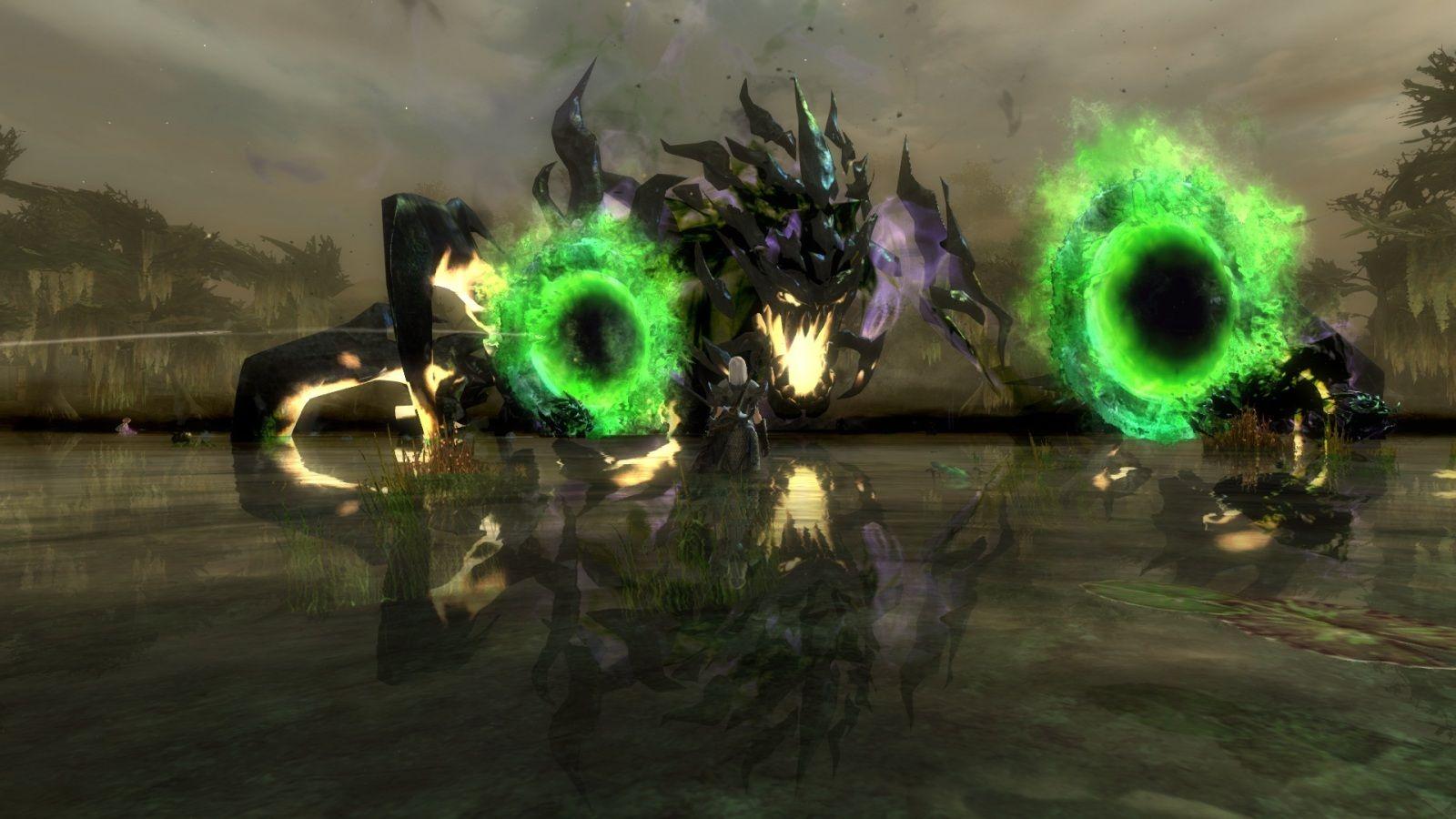The Shadow Behemoth awakens.  Player Sean debates whether or not to take it on.