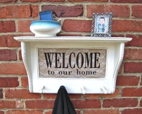 Entryway wall shelf with shaker pegs White by HopeSpringsDecor