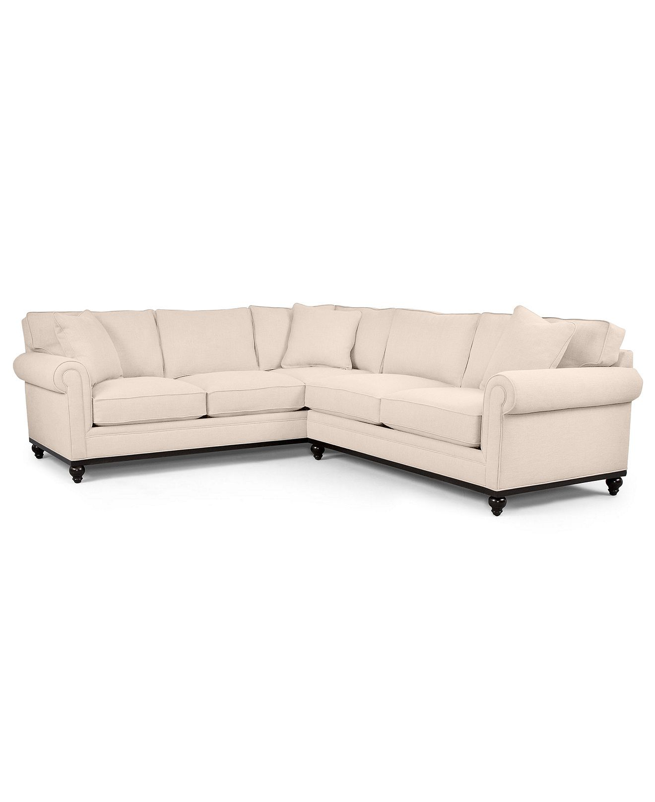 Martha Stewart Fabric Sectional Sofa Club 3 Piece 138W x 100D x