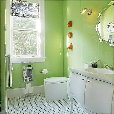 Small Bathroom Chic Vibrant Colors Make Bathrooms Look Bigger Green Bathroom Green Bathroom Decor Bathroom Color