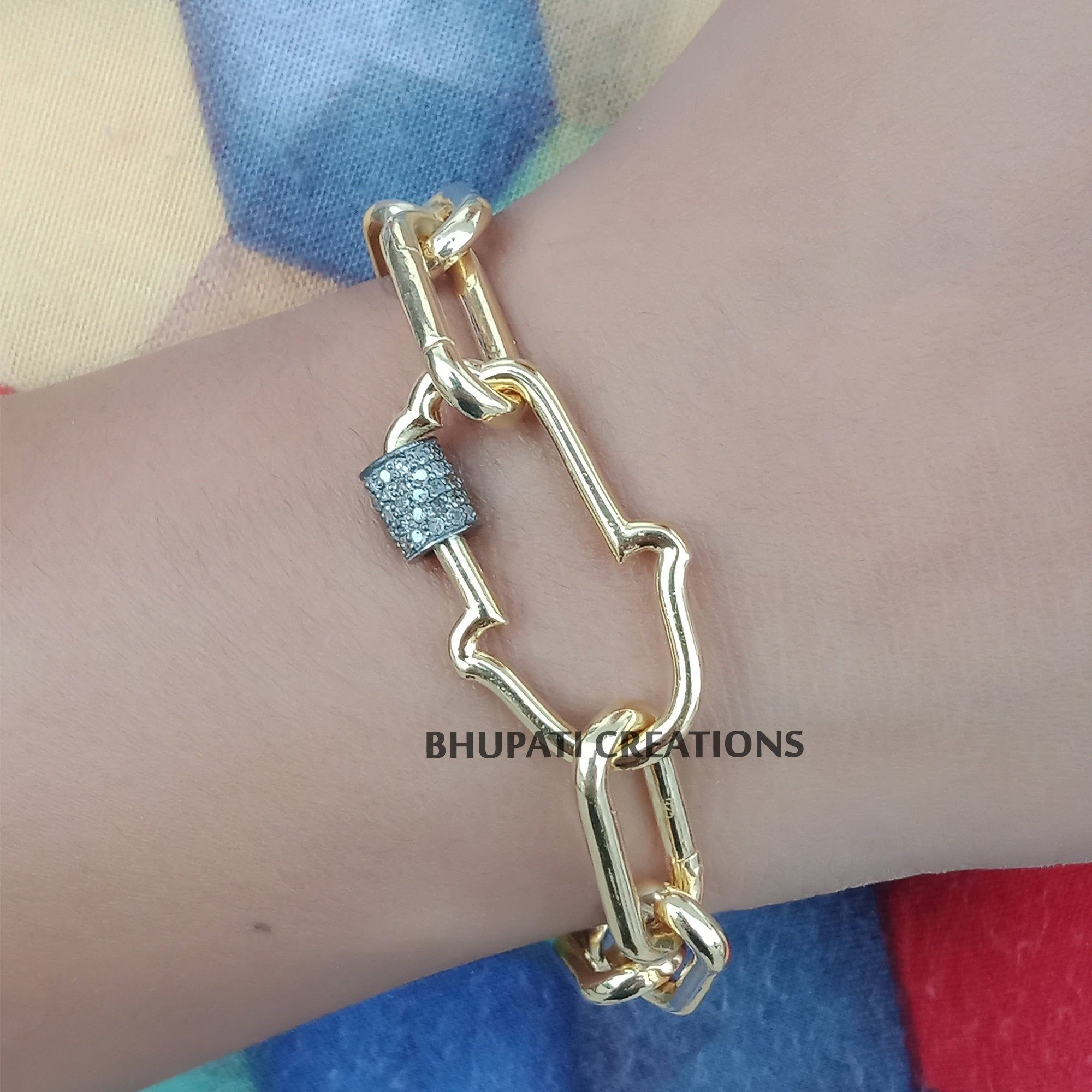 14k Gold Pave Diamond Dog Bone Carabiner Lock Handmade Silver Finding Jewelry
