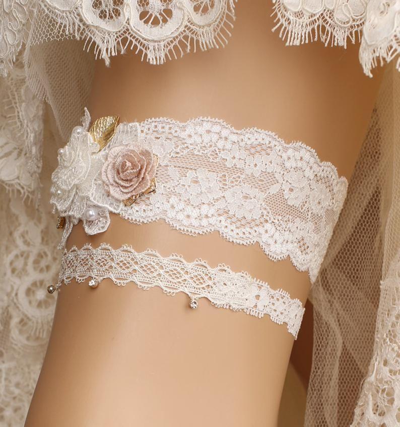 Wedding garter Crystal bridal garter wedding gift Wedding ivory lace garter set Bridal garter set