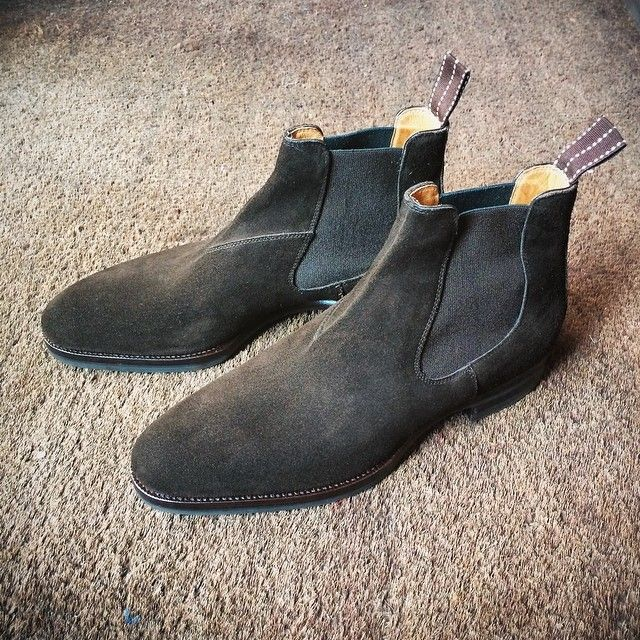 Chocolate brown suede Chelsea boots by Saint Crispin's. MTO #Padgram