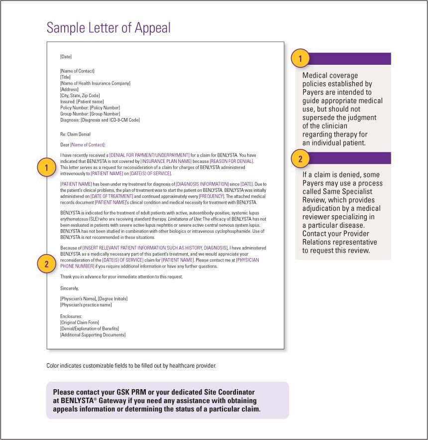 gsksource sample insurance appeal letter for authorization employee