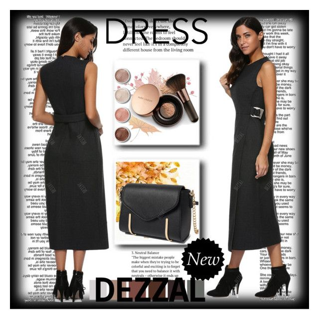 """Black Midi Dress 4"" by ramiza-rotic ❤ liked on Polyvore featuring Nude by Nature and Terre Mère"