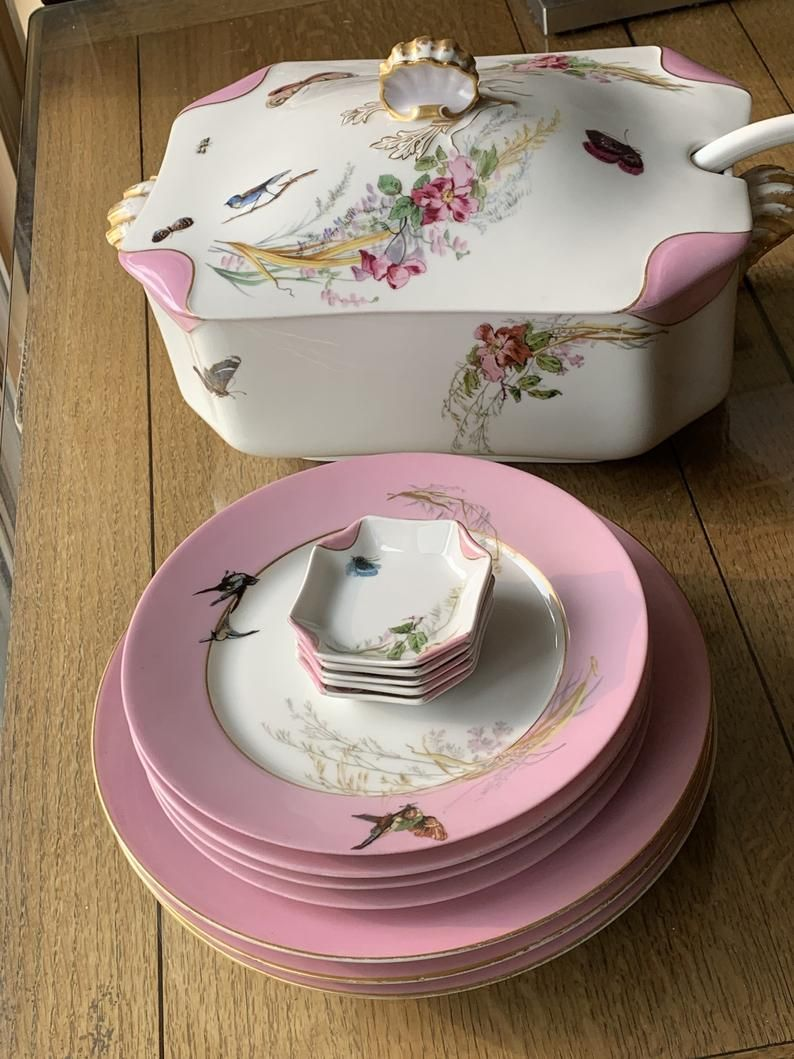 14Pc Antique Limoges Dinnerware Set, Baby Pink Gro