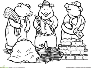 Color The Three Little Pigs Worksheet Education Com Three Little Pigs Three Little Pigs Story Coloring Pages