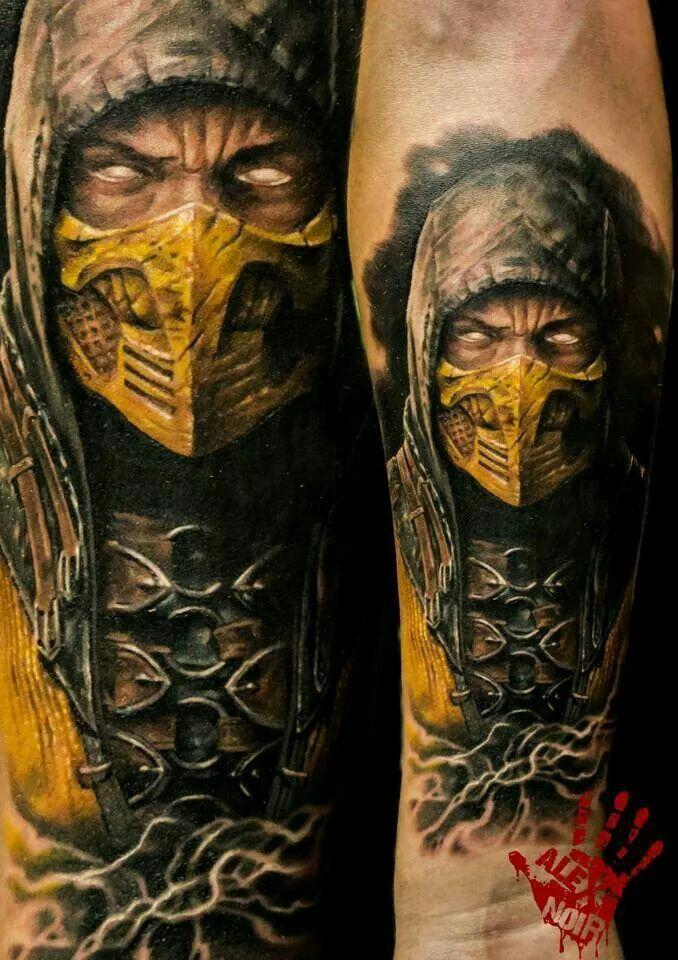 Epic Looking Scorpion Tattoo From The Mortal Kombat Series