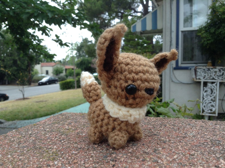 Crochet mini Eevee crochet amigurumi chibi doll plush toy pokemon ...