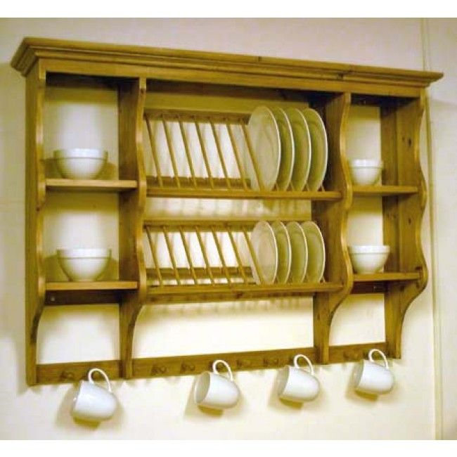 PINE WALL MOUNTED PLATE RACK | Cabinets in 2019 | Kitchen ...