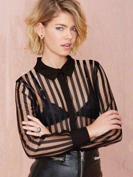Sexy Slim Stylish Perspective Vertical Striped Shirt Collar Stitching Black Chiffon Blouse