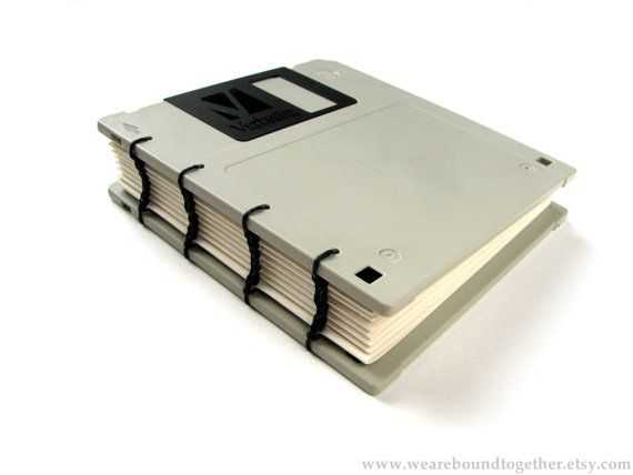 Another I think I can do this myself!  Recycled Floppy Disk Notebook by WeAreBoundTogether on Etsy, $20.00