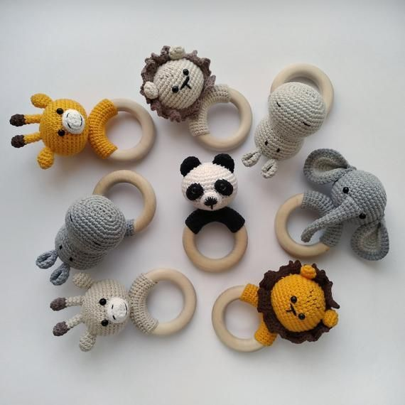 Panda Giraffe Nilpferd Löwe Elefant häkeln Rassel Safari Tiere häkeln Baby Geschenk Neugebore... #crochetdinosaurpatterns