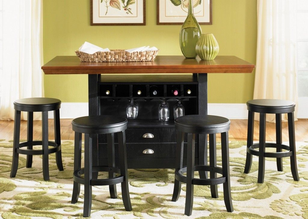 Awesome Pub Tables And Stools With Solid Wooden Top Wine Storage Drawers White Green Rugs
