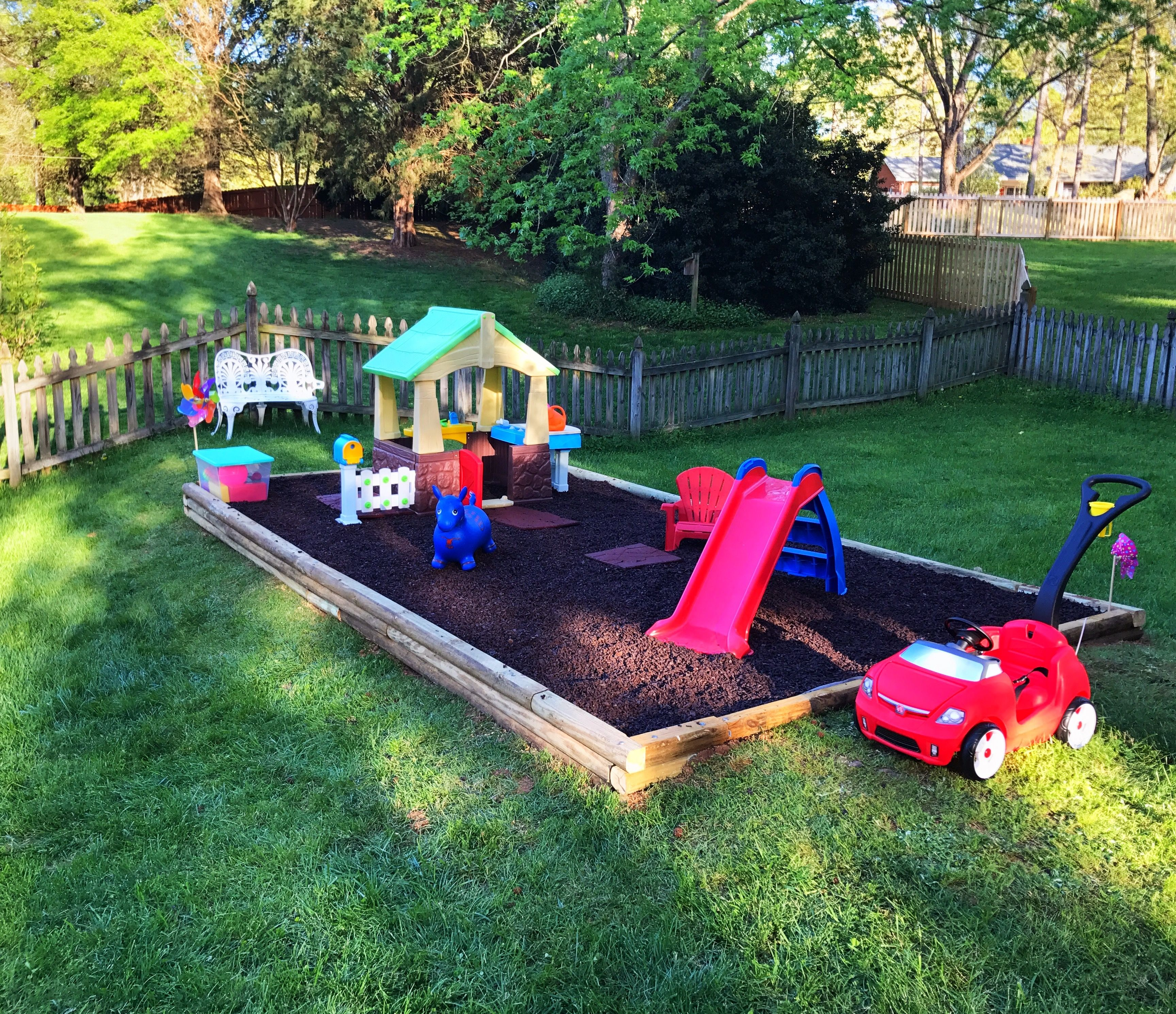 Outdoor play area for toddler  Backyard kids play area, Toddler