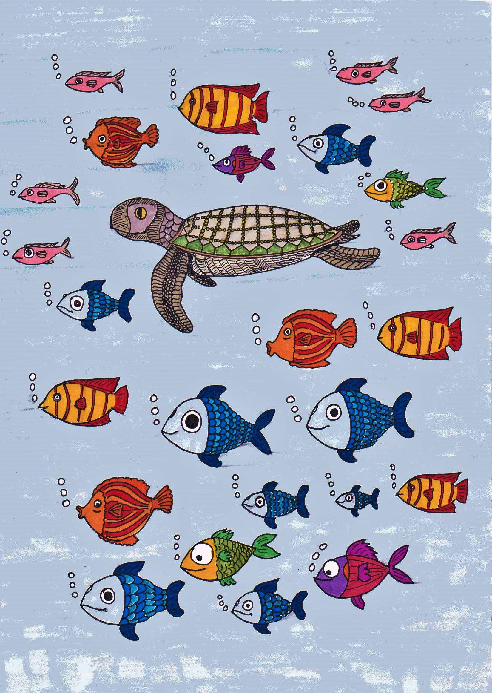 Turtle and Fish drawing illustration fish & marine