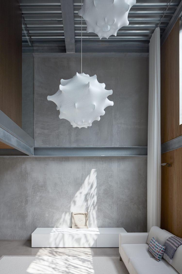 minimalistische einrichtung beton holz designleuchte weiss ...