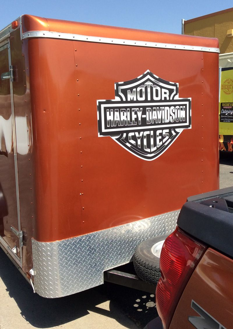 Decal installation of harley davidson logo on a trailer harley davidson trailer logo decals stickers