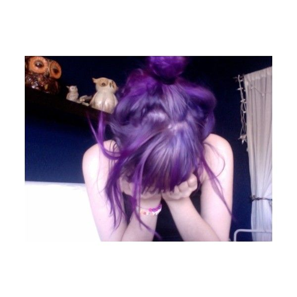 purple hair | Tumblr ❤ liked on Polyvore featuring hair, people, pictures, girls and purple hair