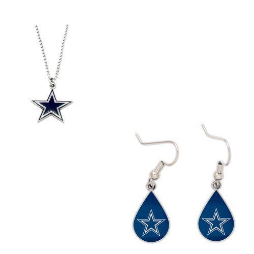 Dallas Cowboys Logo Necklace and Teardrop Earrings