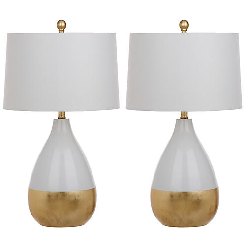 S 2 Caudell Table Lamps White Gold In 2020 Gold Table Lamp White Table Lamp Table Lamp