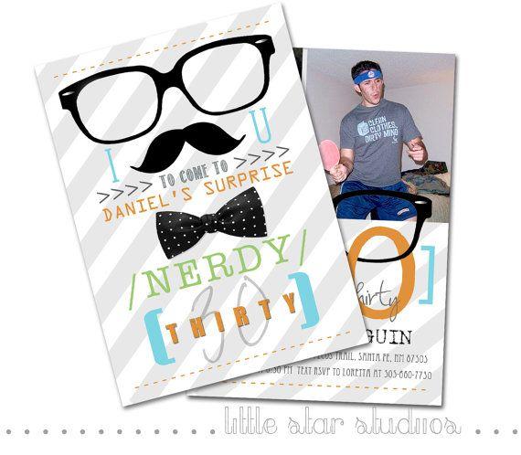 Nerdy Wedding Invites: Nerdy 30 Photo Birthday Invitation By LittleStarStudios On
