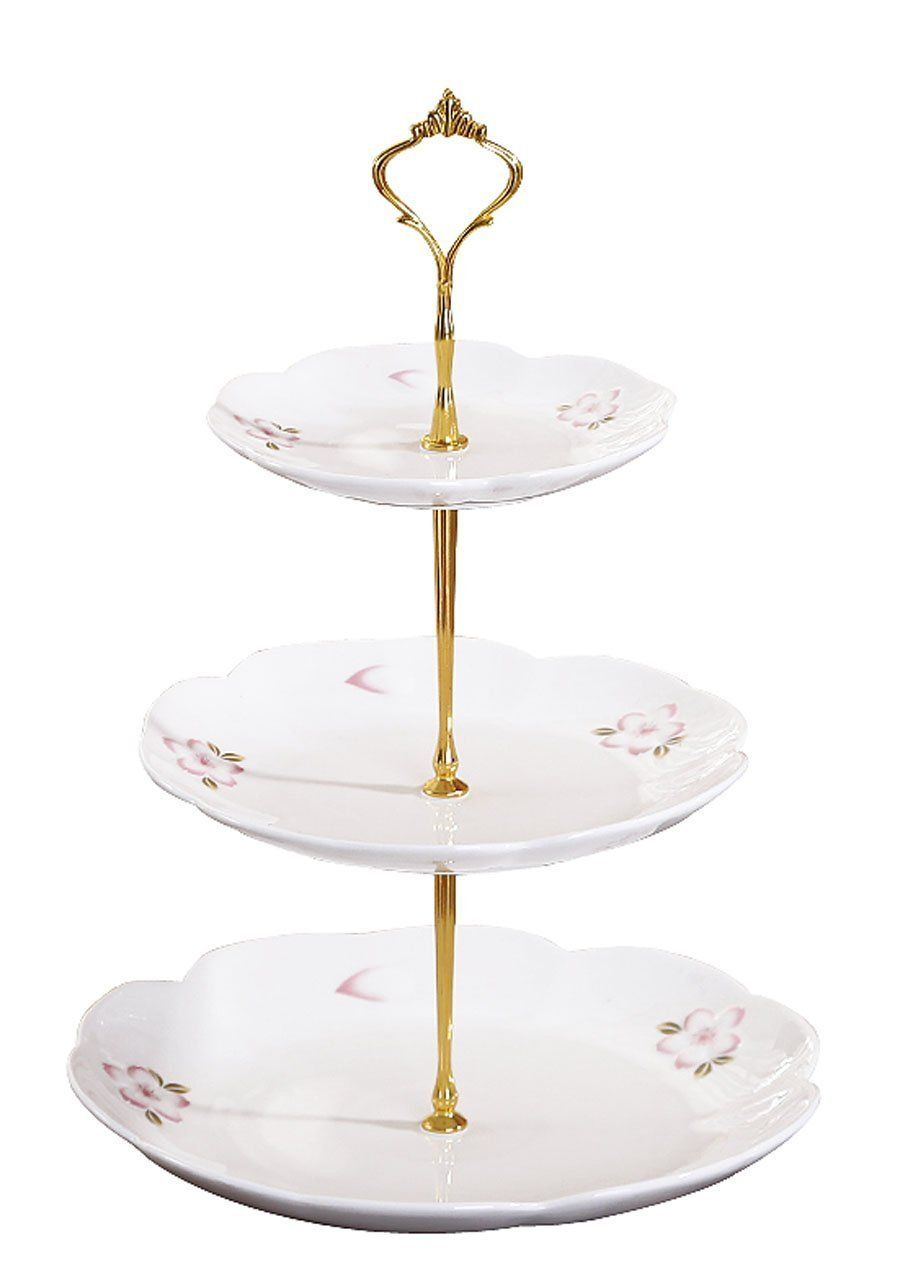Jusalpha 3 Tier Porcelain Cake Stand Pastry Platter Cupcake Stand Tea Party Serving Platter Cb3r White Gold Porcelain Cake Stand Party Serving Cake Stand