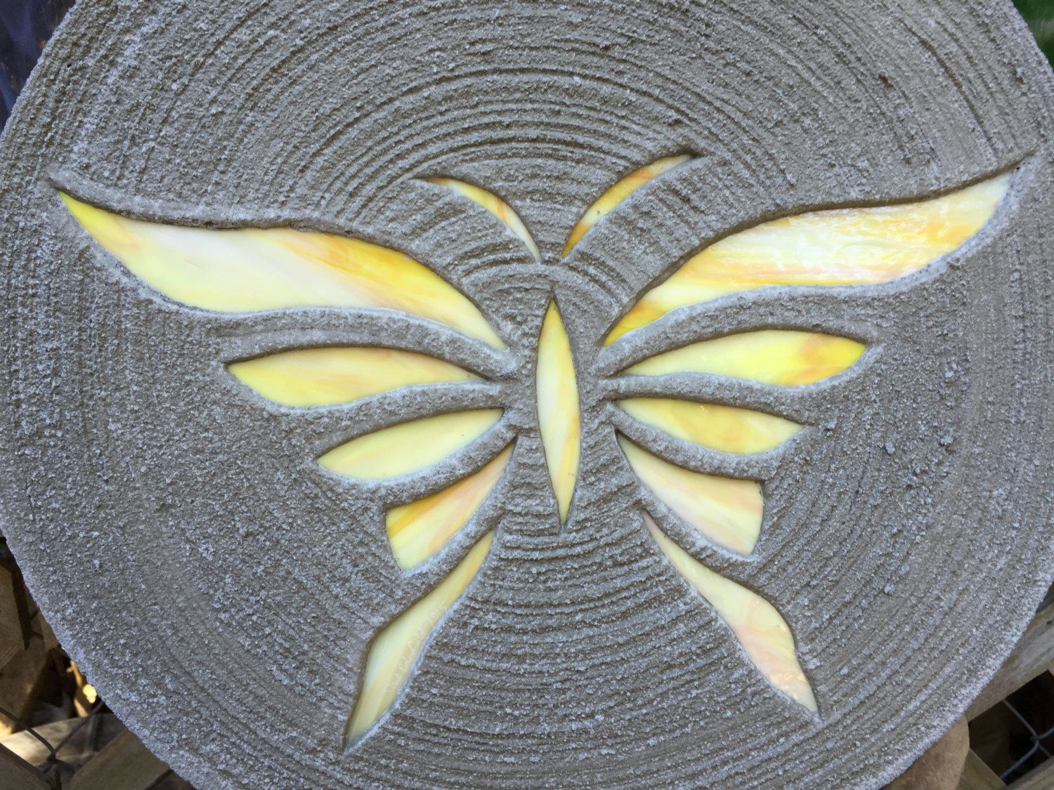 Yellow Erfly Stepping Stone 18 Inch Diameter Concrete Stained Gl Mosaic For Yard Art Or Garden Path Ornament Decor By