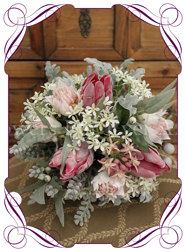 Silk Protea Australian Native Bridal Bouquet In Blush Pink Tones With Jasmine And Dusty Miller