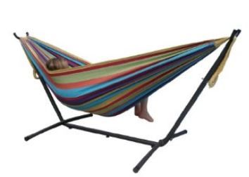 striped double hammock with a powder coated steel stand  product  hammockconstruction material  coated steel and c  mamacheaps    deal of the day   94 90 free shipping  u2013 vivere      rh   pinterest