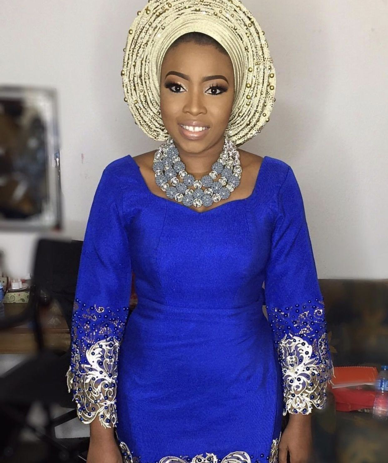 Blue and creme aso ebi african traditional wedding pinterest