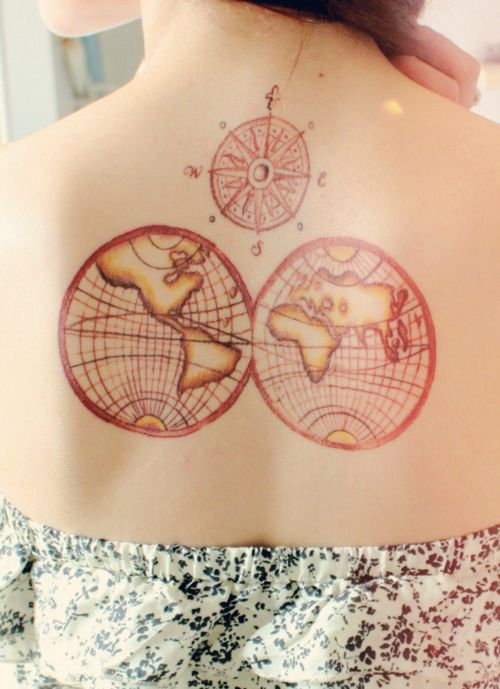 Mapamundi tattoo tattoo pinterest tattoo that compass it will be my palimpsest ish tattoo if and when i ever get it the map is cool too but its all about the compass gumiabroncs Images