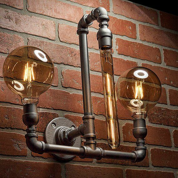 Industrial chic lighting Kitchen Looking For Handmade Industrial Chic Light Fixture That Is Little Different And Visually Fun Then This Industrial Pipe Light Id Just What You Want Worldcloudinfo Pipe Light Lighting Pipe Sconce Light Steampunk Lighting
