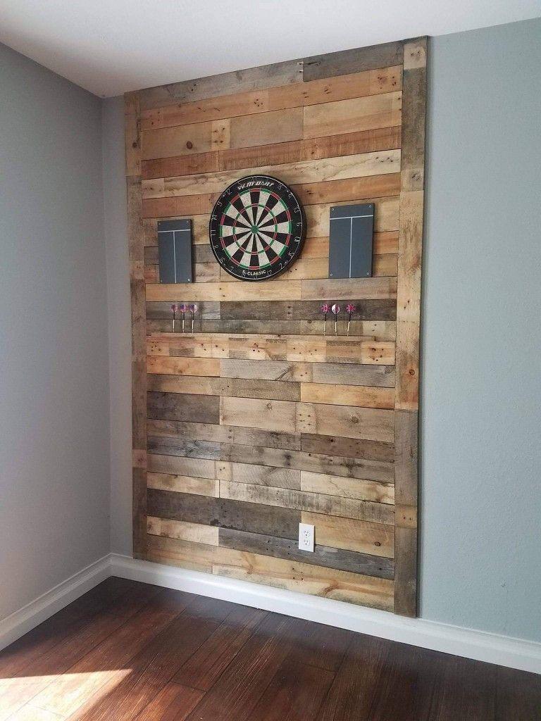 Pallet Wood Rustic Dart Board Rustic Basement Game Room Basement Basement Bar Designs