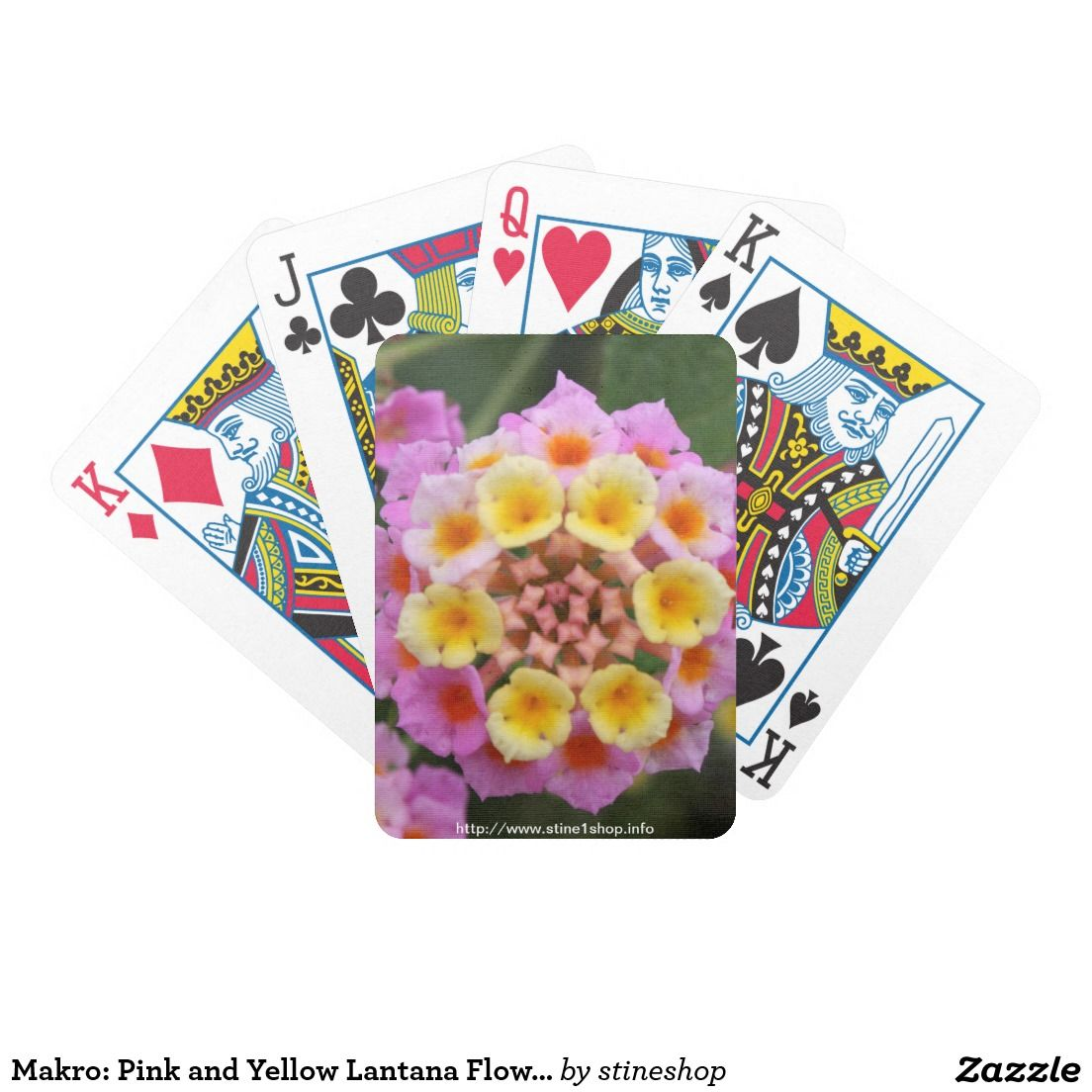 Makro: Pink and Yellow Lantana Flower Bicycle Playing Cards