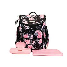 e7df346bc2 Laura Ashley 4-in-1 Floral Zip Around Backpack Diaper Bag - Black ...