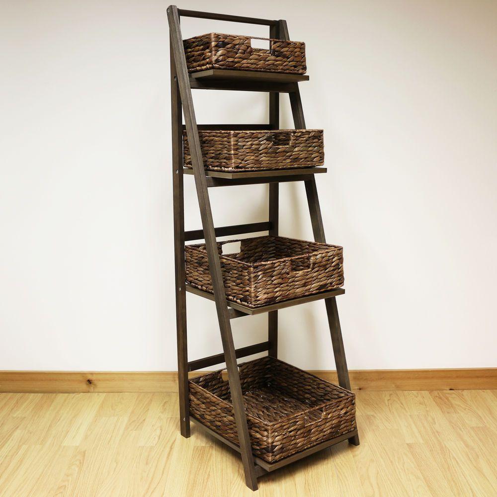 Gentil Dark Brown 4 Tier Wooden Ladder Shelf Display Unit U0026 Wicker Storage Baskets  Set