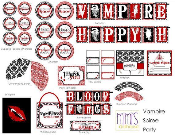 Vampire Halloween Party Printable Collection | Partyideen und Vampire