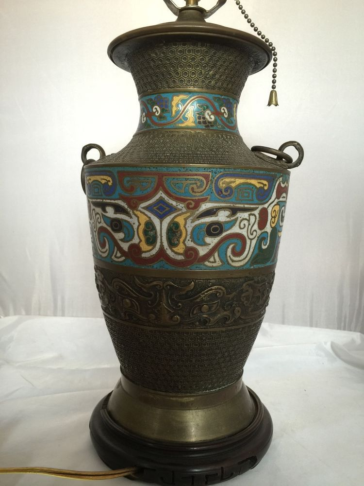Attractive Antique Asian Chinese Japanese Bronze Vase Urn Champleve Cloisonné Enamel  Lamp