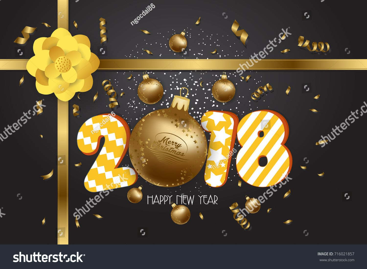 Merry Christmas And Happy New Year 2018 Greeting Card Happy New