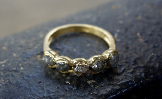 Rough Diamond Ring Raw Diamond Engagement Ring by JKASHIArtStudio