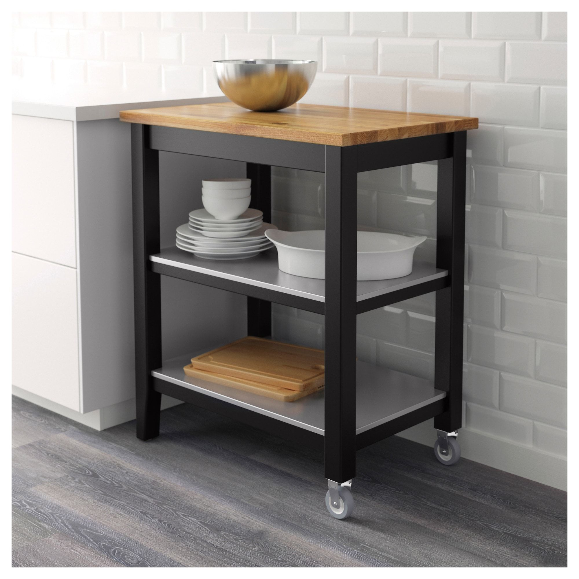 Ikea Stenstorp Kitchen Cart Black Brown Oak Products In 2019