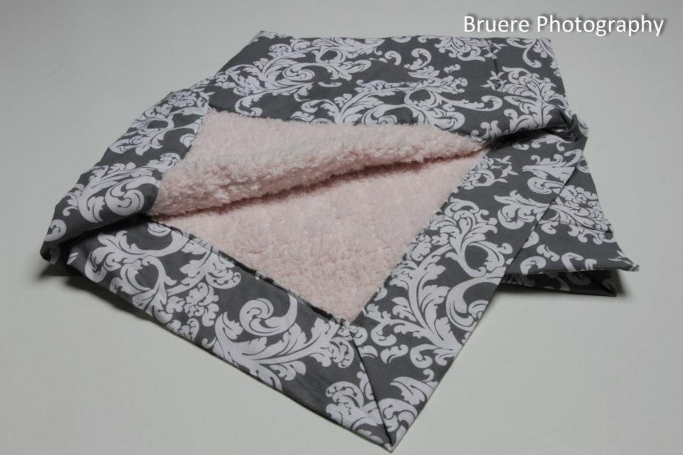 Grey and White Damask with Light Pink Soft Cloud by SewAwesomeShop, $26.35