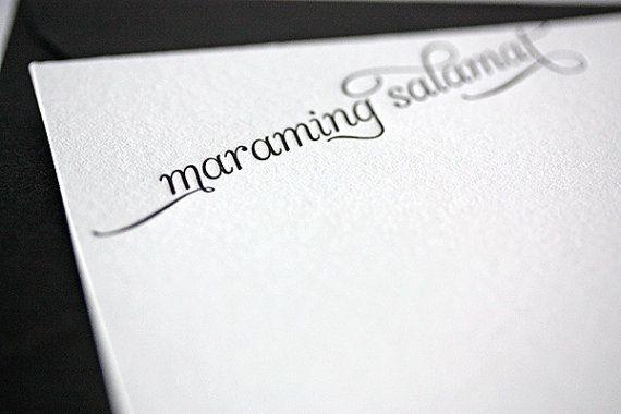 maraming salamat | letterpress thank you cards in tagalog