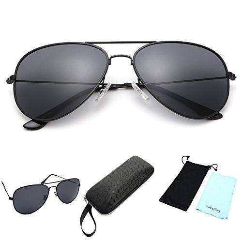 087faf52c27 YuFalling Polarized Aviator Sunglasses for Men and Women black framesmoke  lens 59   For more information