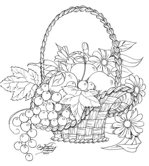 Cestas De Frutas Para Pintar Flower Drawing Flower Coloring Pages Coloring Pages