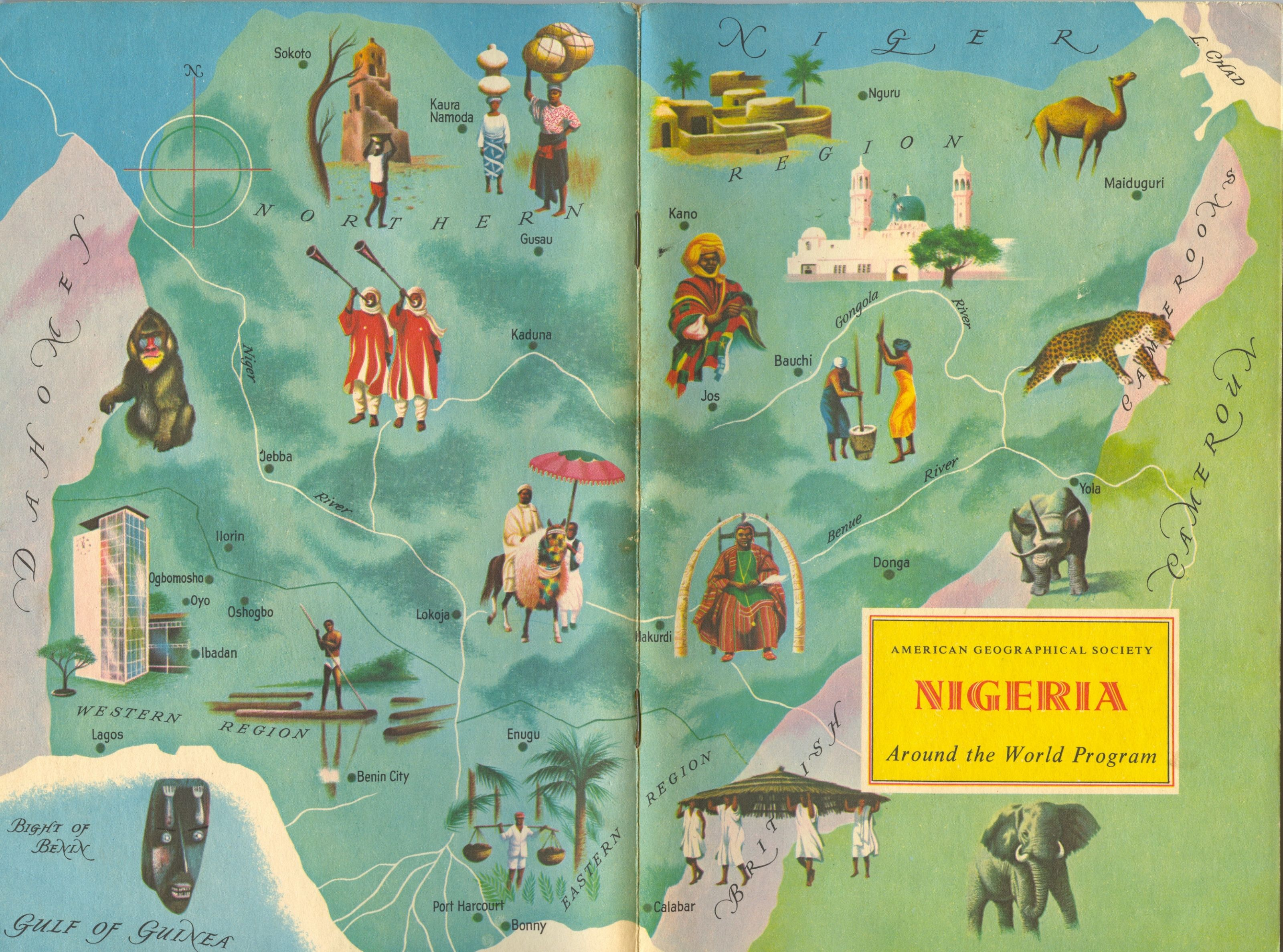 Nigeria american geographical society around the world program nigeria american geographical society around the world program vintage map book cover gumiabroncs Image collections