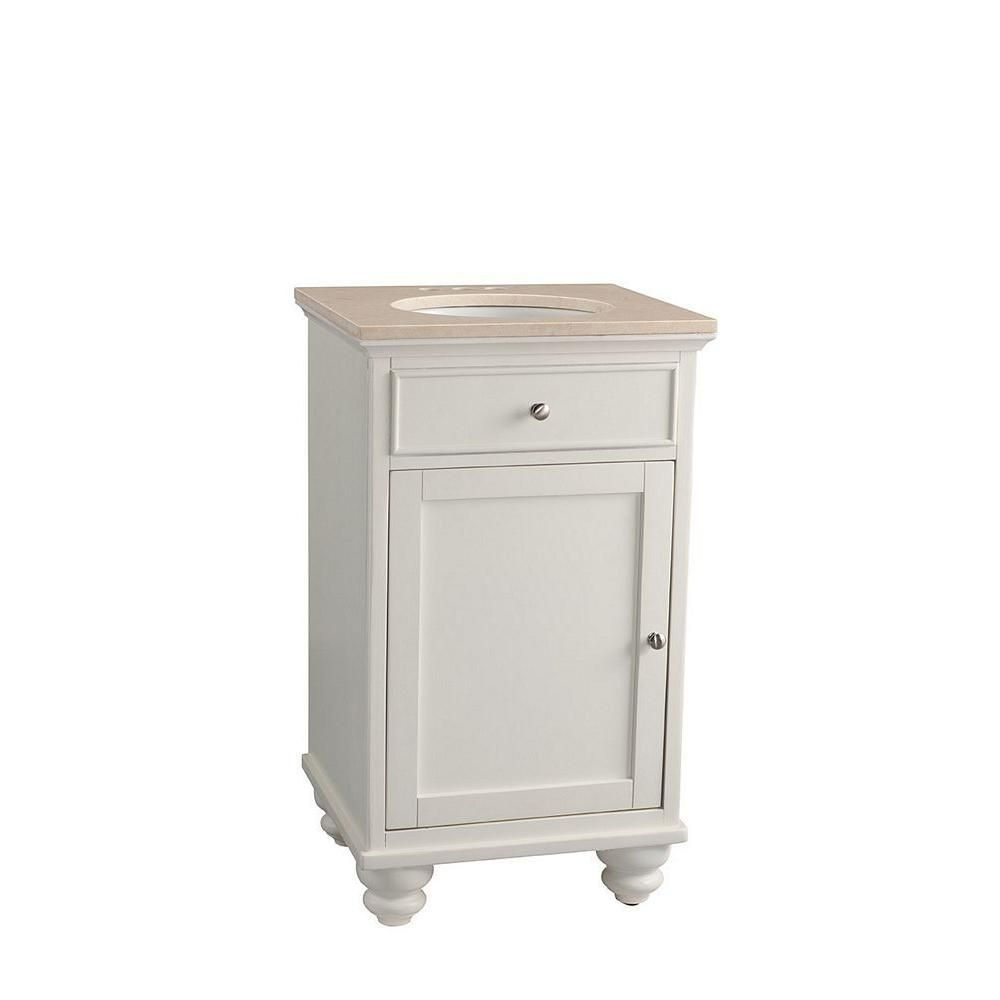 belle foret 20 in vanity cabinet in white with marble on home depot vanity id=27515