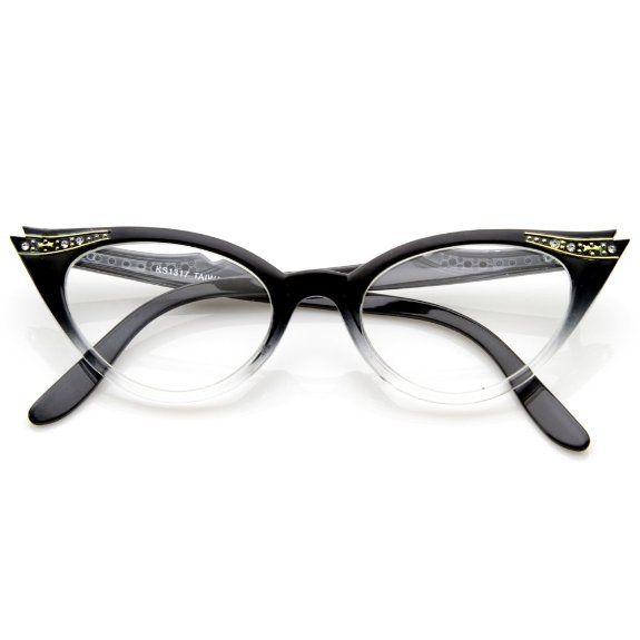 15fd25762854 Amazon.com  Vintage Cateyes 80s Inspired Fashion Clear Lens Cat Eye Glasses  with Rhinestones  Shoes