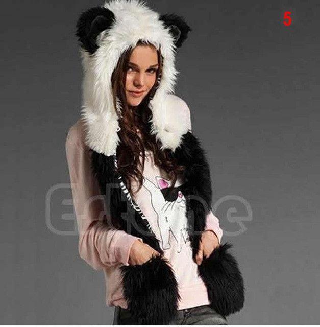 0e2bcef043280 Winter Faux Fur Hood Animal Hoods Hat Cap Cartoon Plush Hats With Scarf  Paws Sets Warm Caps Beanies Cartoon Panda Wolf Hat